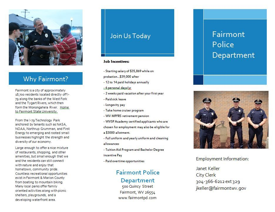View the Fairmont Police Department Brochure Page 1